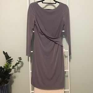 Vince Camuto Long Sleeve Twist Front Gray Dress 6